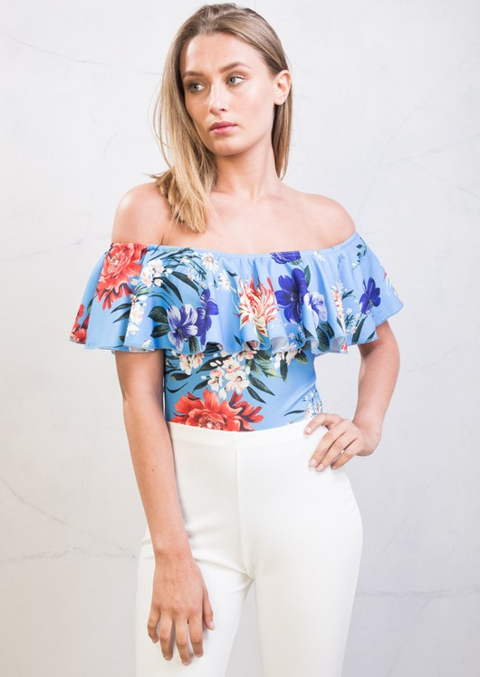 Floral Frill Bardot Off Shoulder Bodysuit Blue