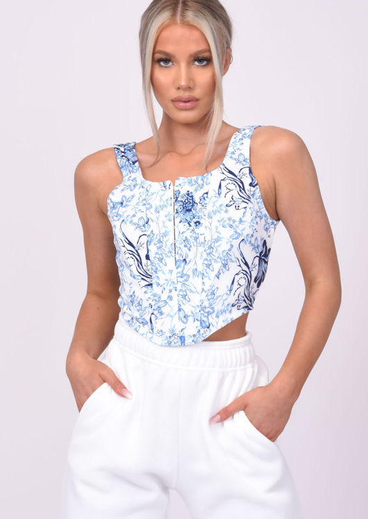 Floral Jersey Cropped Corset Top Blue