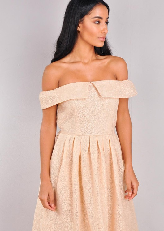 Floral Lace Off The Shoulder Midi Dress Beige