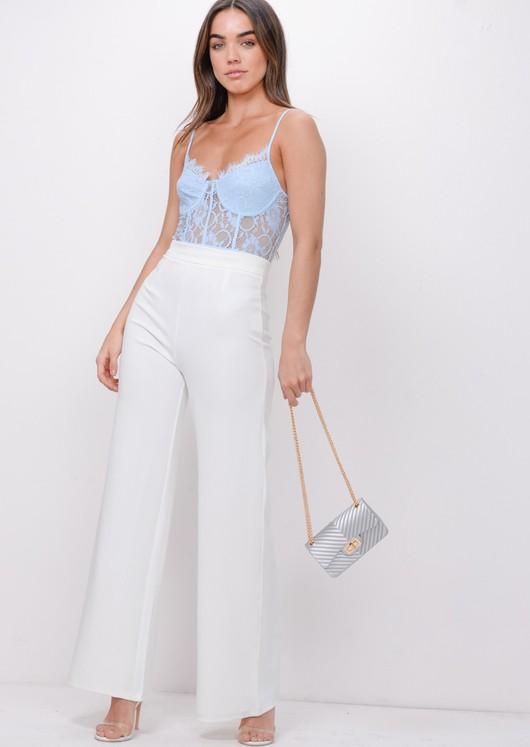 Floral Lace Strap Bodysuit Blue