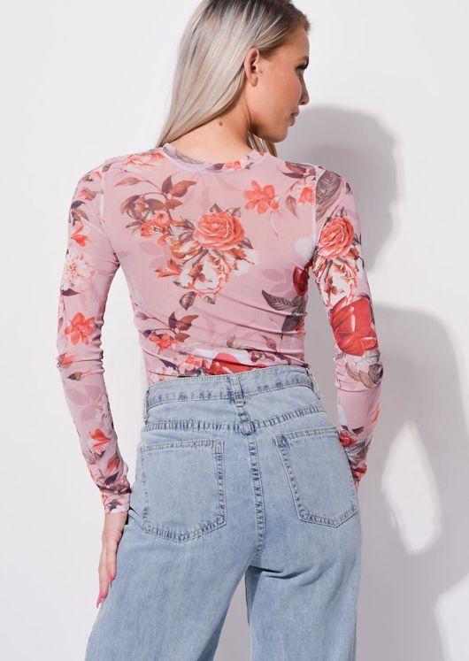Floral Mesh Long Sleeved Bodysuit Pink