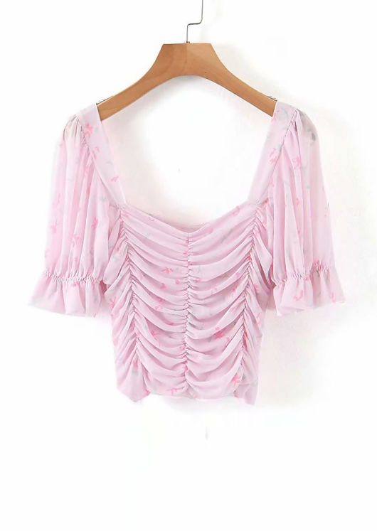 Floral Mesh Shirred Cupped Puff Sleeve Crop Top Pink