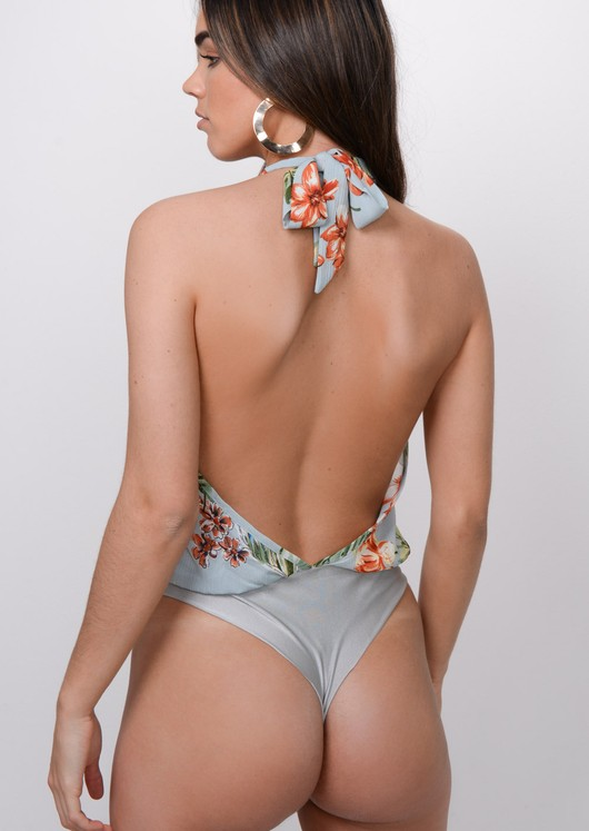 Floral Plunge Bodysuit Light Blue