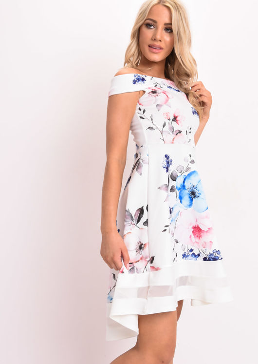 Floral Print Bardot Dress Dip Hem Mesh Panel White