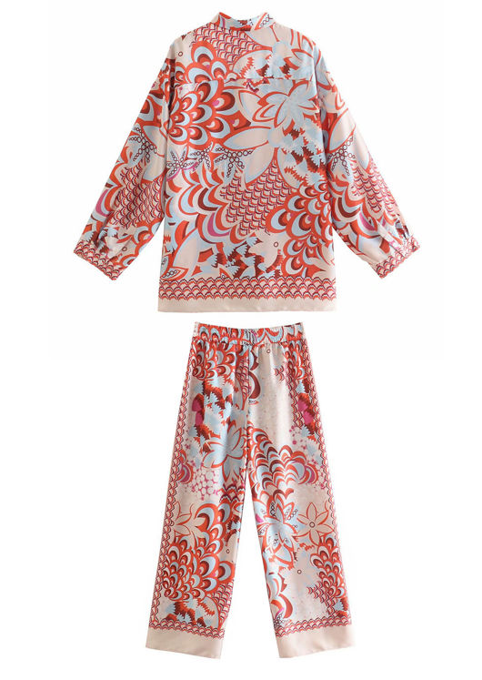 Floral Print Collared Shirt And Straight Leg Pants Co Ord Set Beige