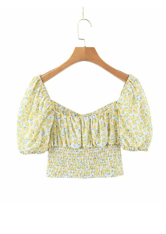Floral Print Cup Shirred Puff Sleeve Crop Top Yellow