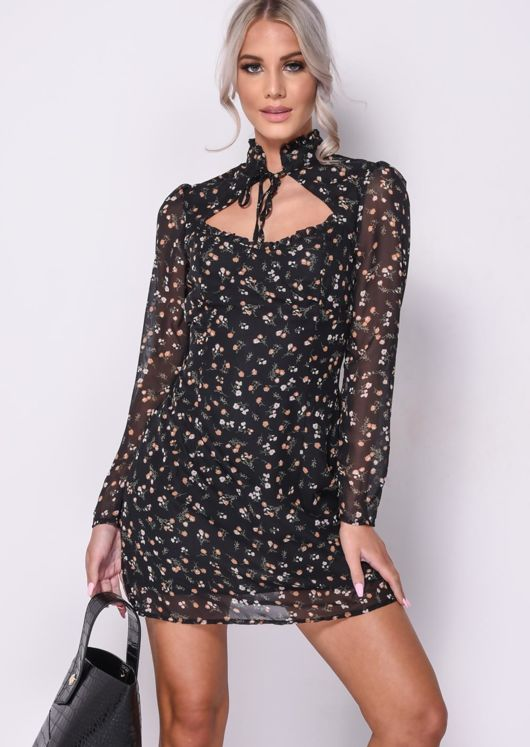 Floral Print High Neck Frilled Mini Dress Black