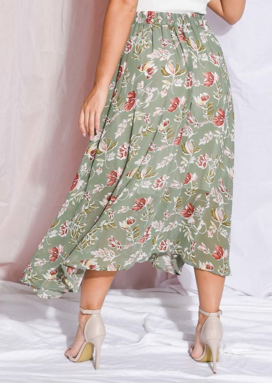 Floral Print High Waisted Midaxi Skirt Green