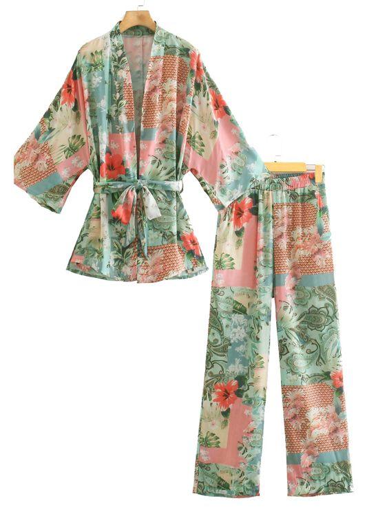 Floral Print Kimono Cardigan Top And Straight Leg Pants Co Ord Set Green