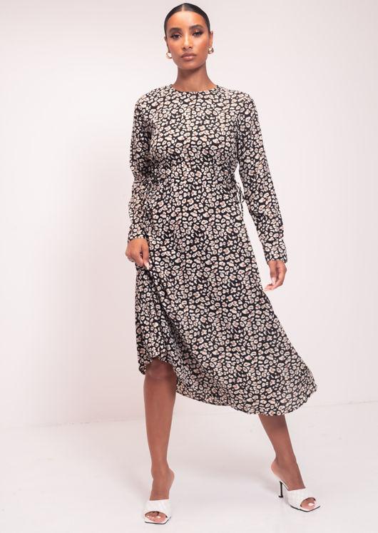 Animal Print Midi Length Sleeve Smock Dress Black