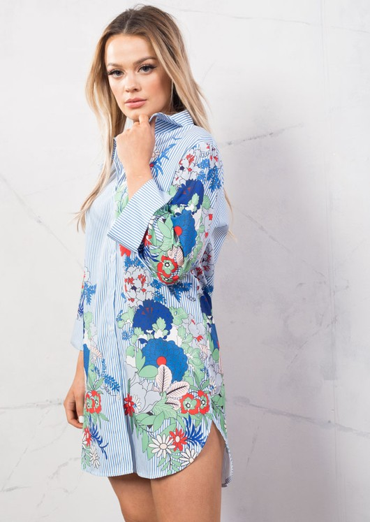 Floral Print Pin Stripe Long Shirt Top Blue