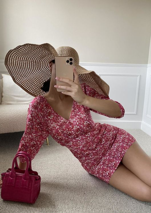 Puff Sleeved Floral Print Button Down Mini Dress Pink