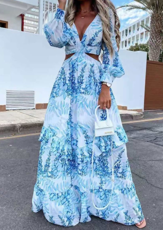 Floral Print Puff Sleeved Side Cut Out Frill Tiered Maxi Dress Blue
