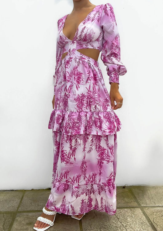 Floral Print Puff Sleeve Side Cut Out Frill Tiered Maxi Dress Pink