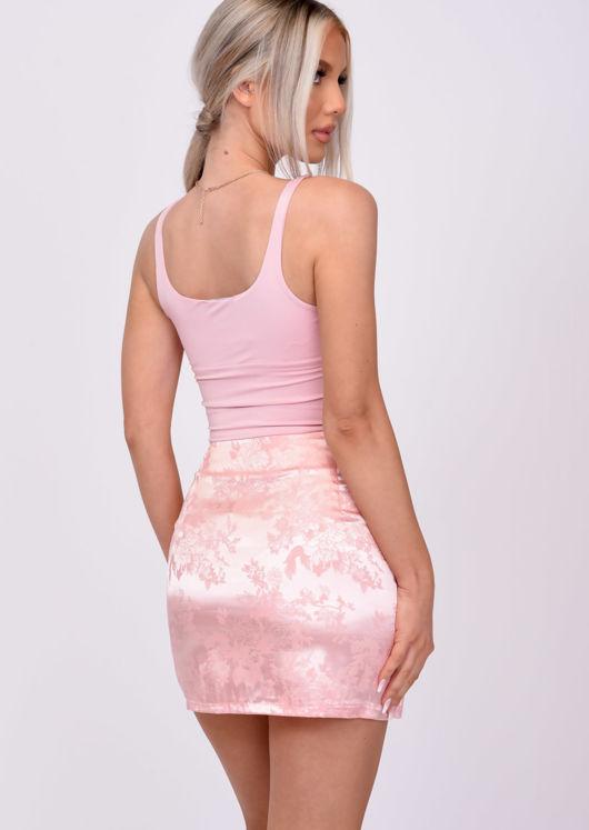 Floral Print Front Split A Line Satin Mini Skirt Pink