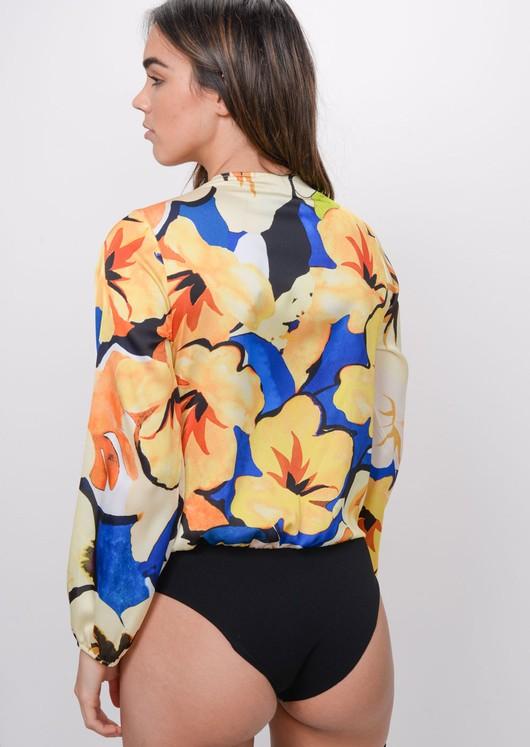 Floral Print Satin Plunge Bodysuit Yellow
