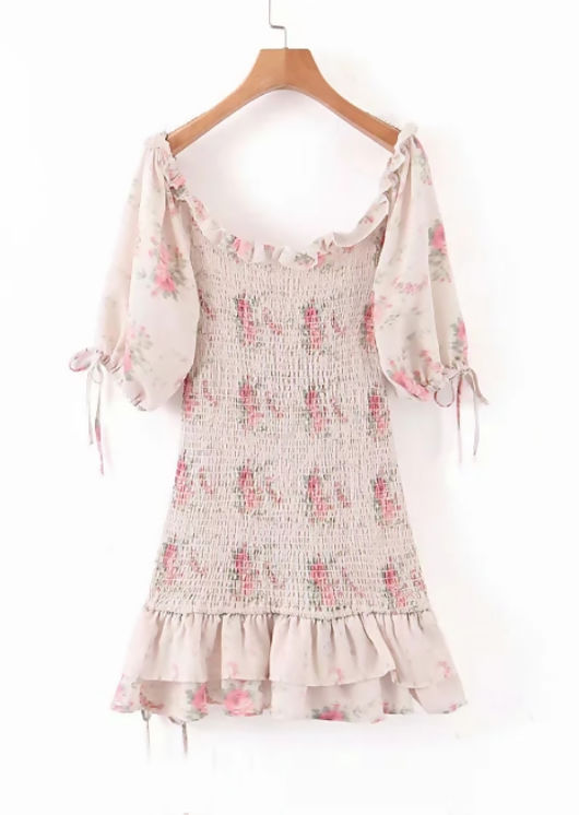 Floral Print Shirred Frill Mini Dress Puff Sleeve Pink