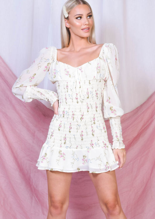 Floral Print Shirred Mini Dress White