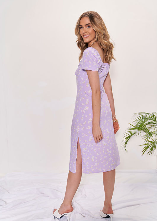 Floral Print Side Split Puff Sleeved Midi Dress Purple