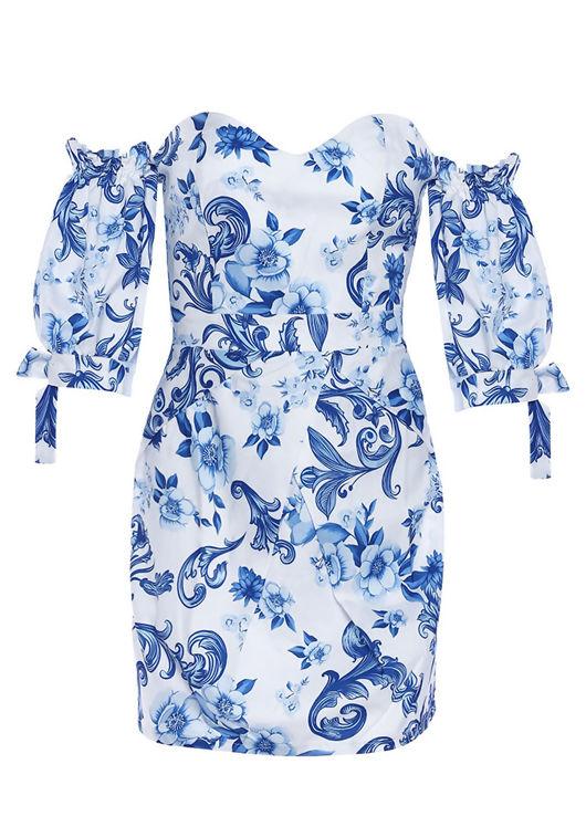 Floral Print Sweetheart Bardot Neckline Puff Sleeved Mini Dress Blue