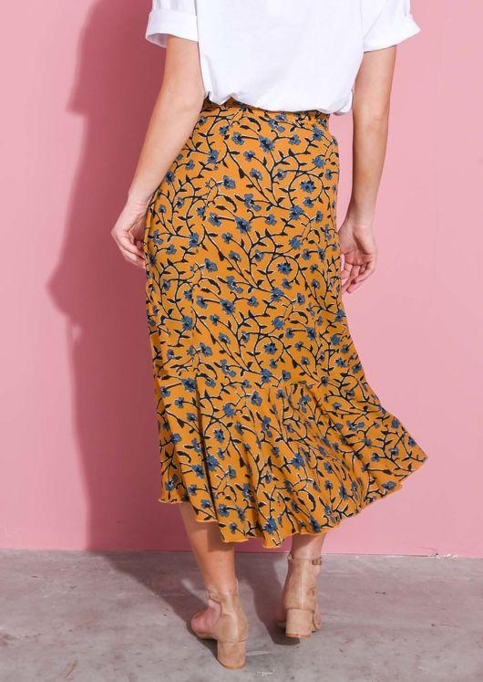 Floral Print Wrap Ruffle Midi Skirt Mustard Yellow