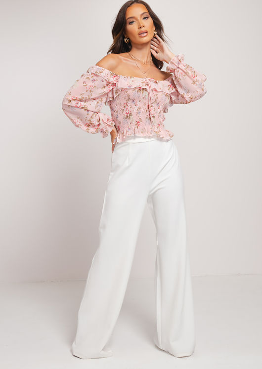 Floral Puff Sleeve Square Neckline Frill Shirred Tie Crop Top Pink