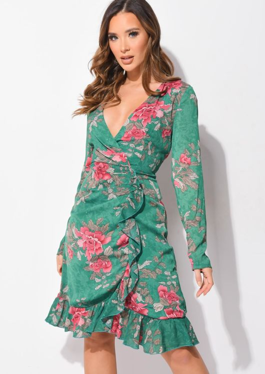Plunge Floral Ruffle Frill Chiffon Wrap Over Dress Green