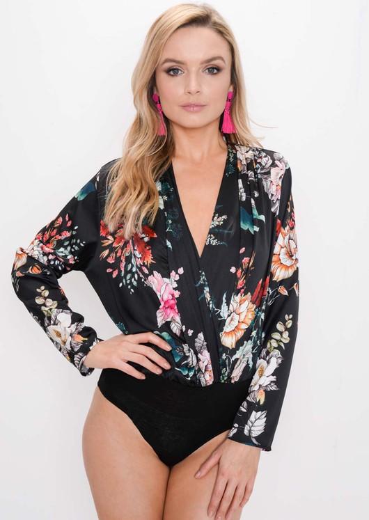 Floral Satin Plunge Bodysuit Black