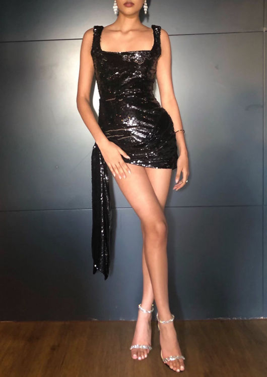 Sequin Draped Mini Bodycon Dress Black