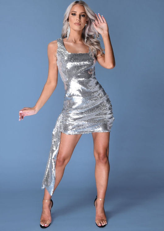 Sequin Drape Mini Bodycon Dress Silver