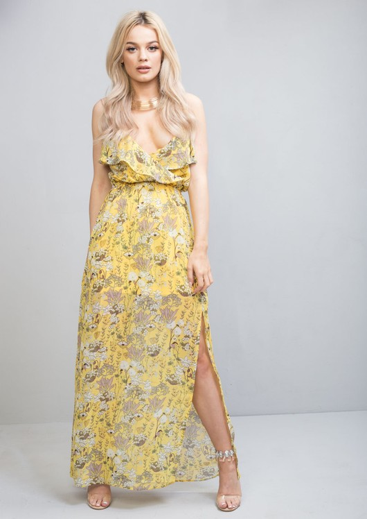 Floral Side Split Chiffon Maxi Dress Yellow