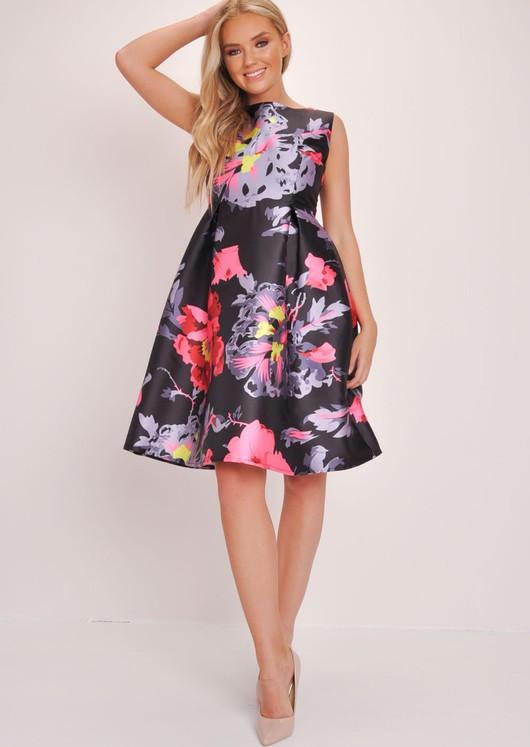 Floral Skater Prom Dress Black
