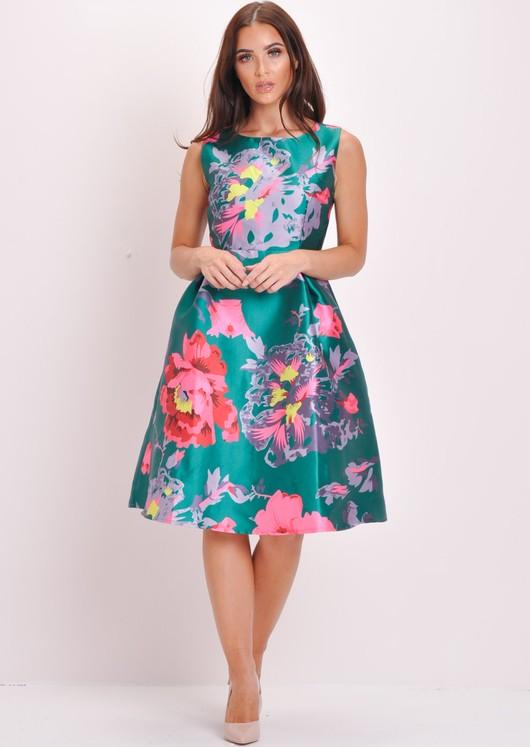 Floral Skater Prom Dress Green