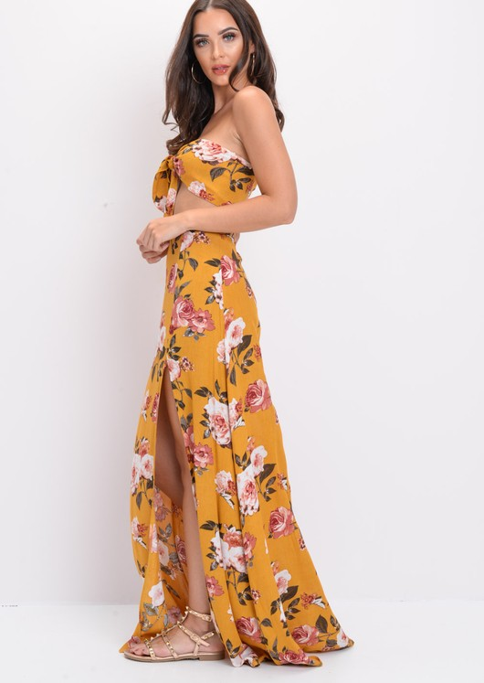 Floral Split Leg Maxi Skirt Co Ord Set Yellow
