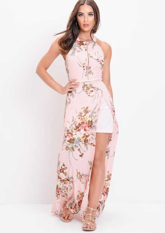 Floral Back Tie Thigh Split Maxi Dress Pink