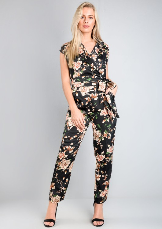 Satin Floral Tie Waist Jumpsuit Black