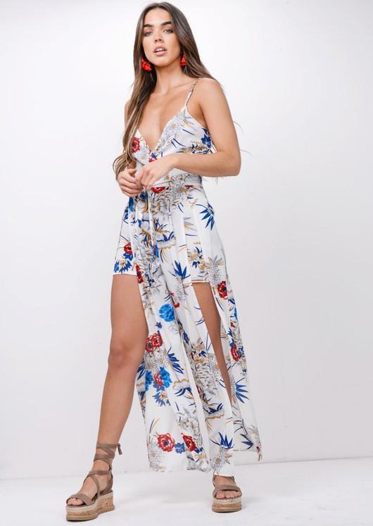 Floral Tie Waist Split Front Maxi Jumpsuit White
