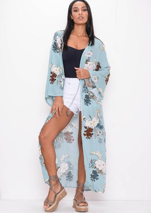 Floral Tie Wrap Over Maxi Kimono Jacket Blue