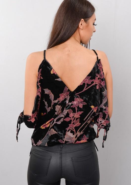 Floral Velvet Cold Shoulder Top Black