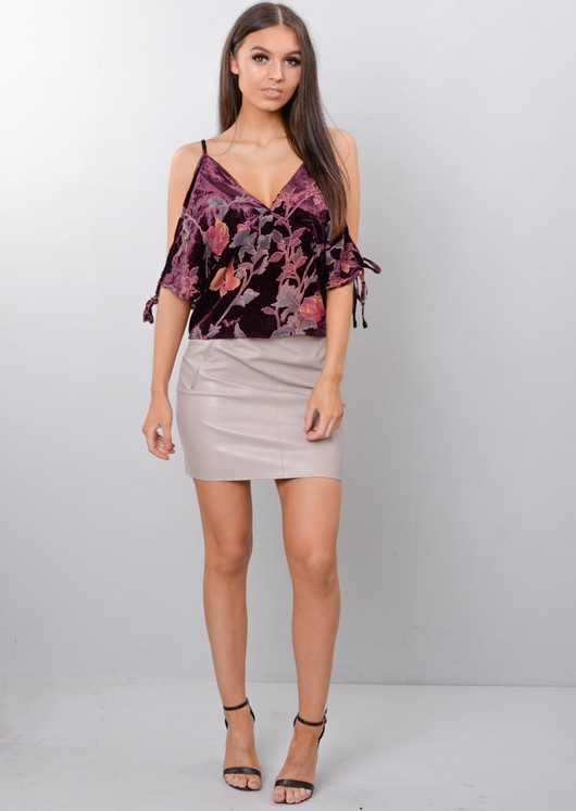 Floral Velvet Cold Shoulder Top Purple