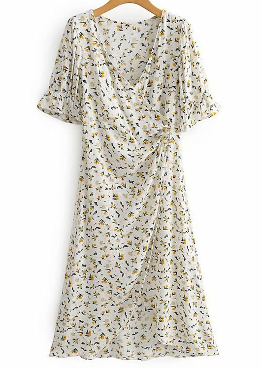 Floral Wrap Across Buttoning Slit Cut Dress White