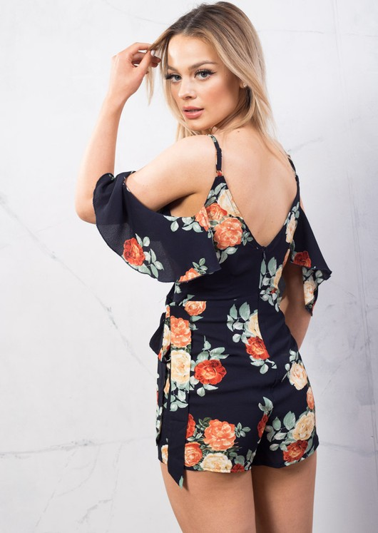 Floral Wrap Over Playsuit With Frill Cold Shoulder Navy Blue