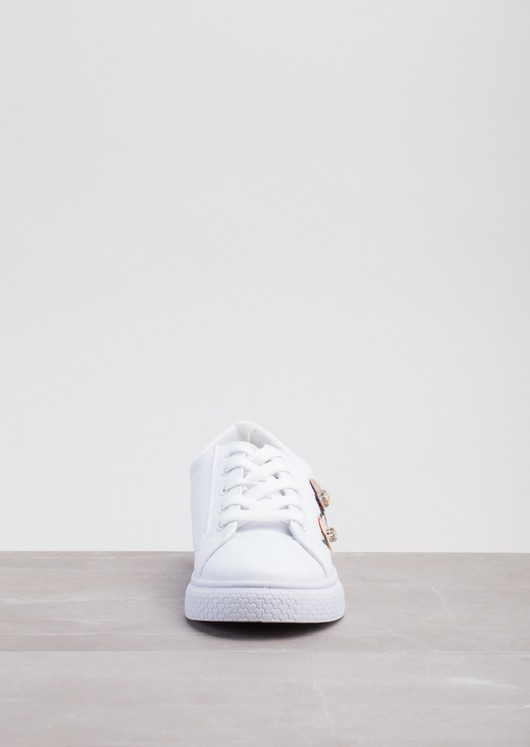 Flower Embroidered With DiamanteTrainers White