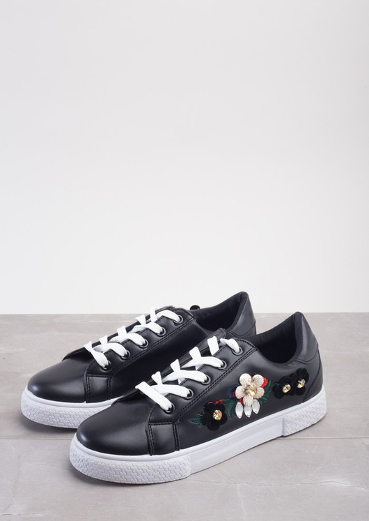Flower Embroidered With Diamonte Trainers Black