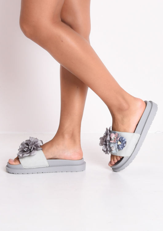 Flower Pearl Embellished Platform Slides Grey
