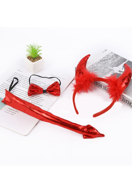 Fluffy Feathered Halloween Devil Horn Headband And Elasticated Bow Tie And Tail Three Piece Set Red