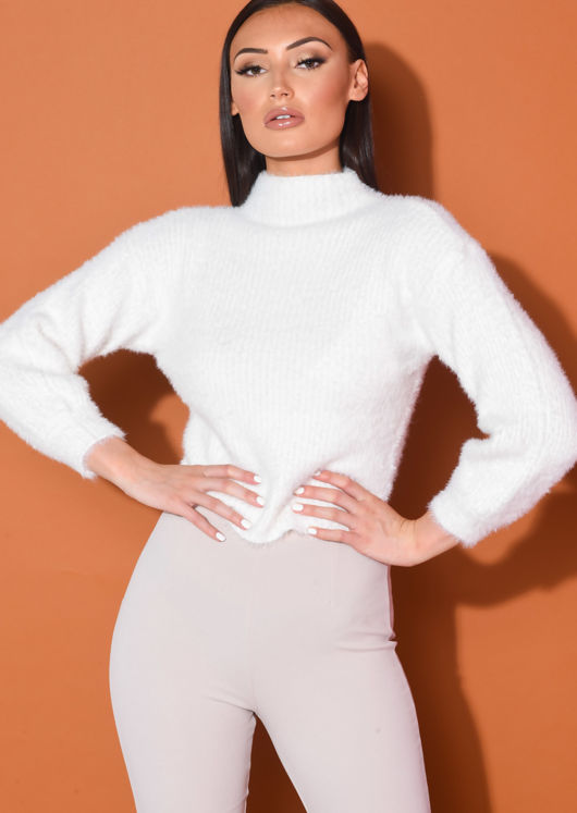 Fluffy High Neck Ribbed Cropped Jumper White