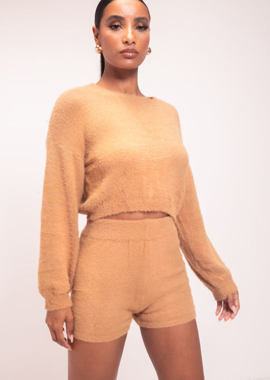 Fluffy Knit Long Sleeve Sweater Shorts Loungewear Co-Ord Set Yellow