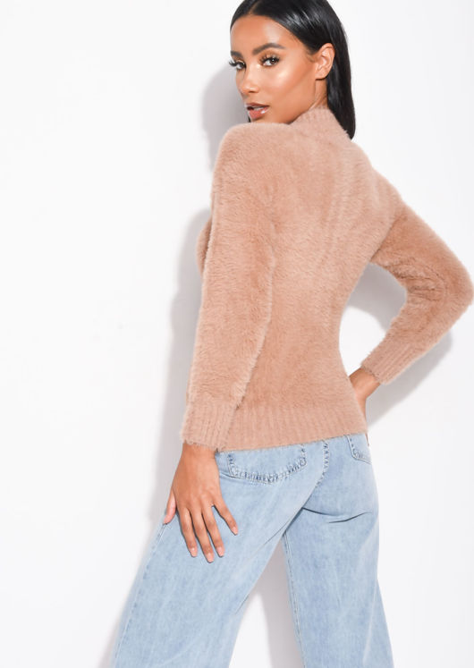 Fluffy Long Sleeve Knit Jumper Brown