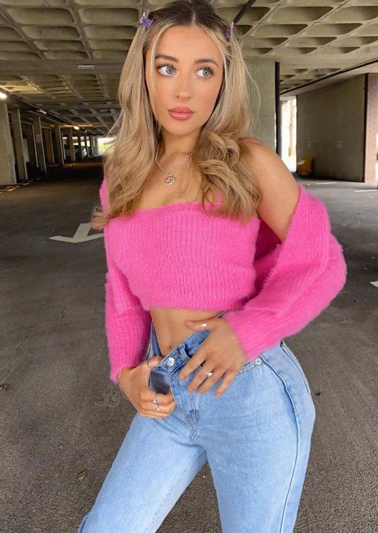 Fluffy Knit Cami Cardigan Crop Top Two Piece Set Pink